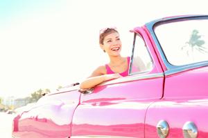 Vintage retro car woman